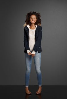 Start your look with a Perfect Push 'Em Up Bra and Down Undies from Gilly Hicks. Step into a pair of Premium Stretch jeggings and slip on a cozy sweater with shine fabric. Don't forget to grab a warm jacket with soft sherpa lining and luxurious faux fur trim.