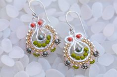 Teardrop Earrings in Lime Green Coral Peach and by octaviabloom