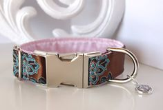 Brown Pink Paisley Brocade Dog Collar With by TwistedPetDesigns, $23.00