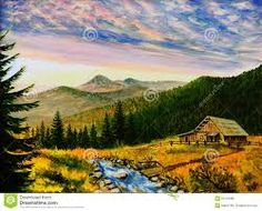 Image result for river, mountains, house