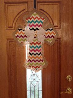 Burlap and fabric cross door hanger on Etsy, $32.00