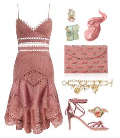 """Summer Pink"" by dominosfalldown ❤ liked on Polyvore featuring Zimmermann, Kayu, Melissa Joy Manning, Alexandre Birman, Bobbi Brown Cosmetics, Oscar de la Renta, lace and monochromepink"