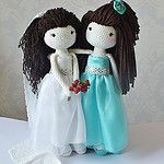 Crochet Bride and Bridesmaid by Kornflake.stew