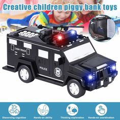 Baby Piggy Banks, Musical Car, Giant Truck, Savings Bank, Save The Children, Light Music, Unique Cars, Natural Disasters, Creative Kids