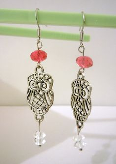 Silver Owl Earrings with Swarovski Crystals-- Pink. $15.00, via Etsy.