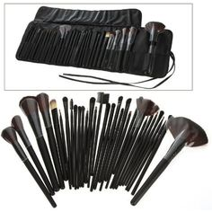 Science Purchase 78VK14322 32-Piece Black Cosmetic Makeup Brush Set with Black Bag -- For more information, visit image link. (This is an affiliate link) #MakeupBrushesTools