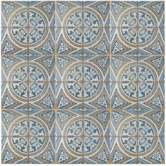 "EliteTile Royalty 17.75"" x 17.75"" Ceramic Field Tile in Blue/White/Yellow"