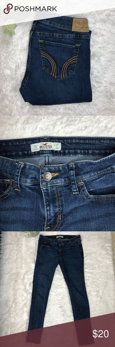 Hollister Darkwash Skinny Jeans Hollister Skinny Jeans. Darkwash. Size 5. Rise 8in, Inseam 26.5 inches. Gently used. I'm great condition. On the right leg their are a couple lines from being in a drawer so long. Hollister Jeans Skinny