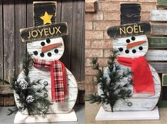 Make wooden snowmen - Trend Holidays Recipes 2019 Wood Snowman, Diy Snowman, Christmas Wood, Christmas Holidays, Christmas Decorations, Diy Craft Projects, Diy And Crafts, Fall Pallet Signs, Holiday Crafts