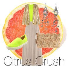 """""""Citrus Crush"""" by francisca-cienfuegos on Polyvore featuring moda, Theory+, Needle & Thread, H&M, Naya, Flora Bella, Alexander McQueen, neon y nude"""