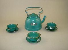 Antique Doll House Tin Set Kitchen Miniature - Tea Pot with 3 Cups and Saucers