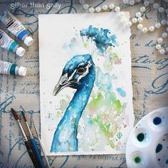 Nature-Inspired Watercolor Paintings By Sillier Than Sally Watercolor Paintings Nature, Pen And Watercolor, Watercolor Animals, Watercolor Peacock, Art And Illustration, Art Fantaisiste, Peacock Art, Whimsical Art, Bird Art
