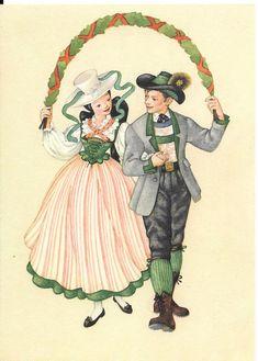 Salzkammergut: Österreichische traditionelle Tracht, Maria Rehm, Osterreichs Trâchtenbüchlein, Aussee, Vintage Farbe 1950 österreichische Kunst Postkarte