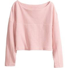 H&M Cropped top (311.575 IDR) ❤ liked on Polyvore featuring tops, sweaters, shirts, crop tops, light pink, pink shirt, light pink top, longsleeve shirt, light pink long sleeve shirt and h&m