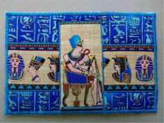 Colorful Blue Pharaoh Egyptian Fabric Postcard ♥ by Postcardfancy, $9.00