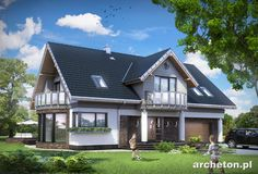 Projekt domu Lazuryt - we wnętrzu rysuje się wyraźnie część frontowa, z dużą kuchnią, oraz ogrodowa: z dużym pokojem dziennym i z gabinetem.
