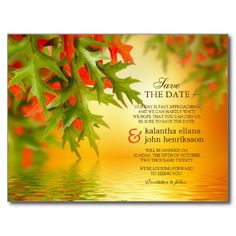 Fall Wedding Save The Date Postcard Autumn Leaves
