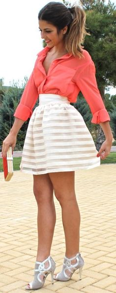 DRESSY OUTFITS: peach blouse with clutch and white striped skirt completed with gray and white heels