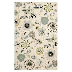 Hand-hooked indoor/outdoor rug with a floral motif.    Product: RugConstruction Material: PolypropyleneCo...