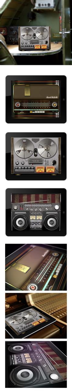 Legendary retro audio devices GUI by Dmitry Mushchinskiy, via Behance *** Three classical audio devices were elaborately designed to become either an entire pc application or an item library for creating something new and unique.