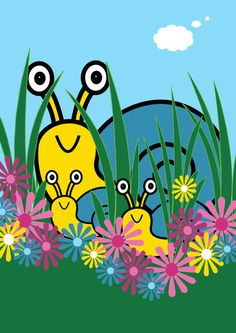 'Peek-A-Boo Snails' by Louise Parton on artflakes.com as poster or art print $17.33