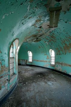 "Ian Ference ~ New York's abandoned, beautiful architecture ""A hallway inside the sandstone wards at Buffalo State Hospital. Kirkbride institutions followed a floor plan of a central building connected to long wings, which are staggered in a linear fashion on either side."" gallery of 37 photos via NY Daily News"