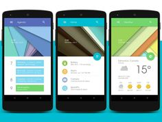 homescreen design inspired by Android L. via XDA-developers. Android Material Design, Android Design, Android Ui, App Ui Design, User Interface Design, Android Tricks, Design Design, Graphic Design, Google Material Design