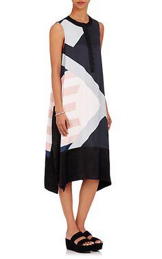 Public School Cyra Flag-Print Satin Shirtdress - Dresses - 504927941