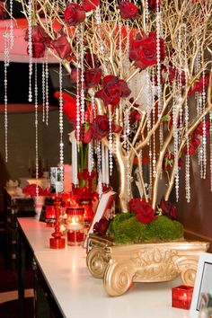 Old hollywood glam party...beads are cut from a beaded curtain