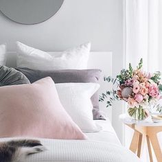 Pink And Gray Girl S Room Features Walls Painted A Warm