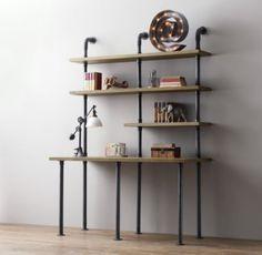 Industrial Pipe Single Desk & Shelving