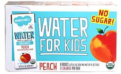 WONDER+WELL Organic Peach Water Drink Boxes, No Sugar, 6.75oz (case of 32)