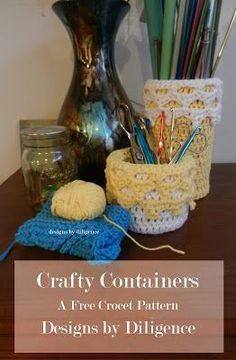 Do you need a simple storage solution for your desk or shelves? This is a very easy project that can be done in a short amount of time. It uses an oatmeal container and some simple crocheting skills. They are sturdy and once you are done you cannot tell that they used to take up space in your pantry!