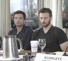"Seb: Chris? Are you Sleeping??? The longer I watch this, the funnier it gets. I just wish I could find that gif set of Chris Evans talking about how he can fall asleep anywhere (he says something like ""if you give me five minutes, I can give you four minutes of decent sleep"")"