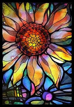 Stained glass sunflower Sharpie Alcohol, Sharpies, Alcohol Inks, Watercolor Sunflower Tattoo, Sunflower Canvas, Sunflower Leaves, Watercolor Tattoo, Painted Glass Windows, Painted Window Art