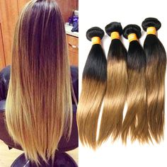 1B/27# 2 Tone Real Human Hair Weft Extensions Ombre Silky Straight Beauty Hair #WIGISS #HairExtension