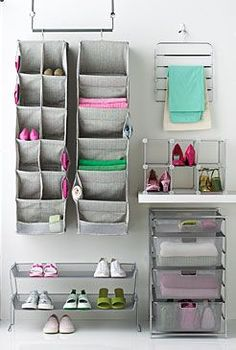 *Dorm room essentials create a stylish space for lounging, studying & sleeping. Find ideas, products and dorm room decorating tips. From cute dorm room decor and funny college posters to peel & stick wall decor and cheap dorm decorating ideas, has it all! Closet Interior, Apartment Interior, Apartment Living, Apartment Ideas, Living Room, Dorm Closet, College Closet, Closet Space, Dorm Room Styles