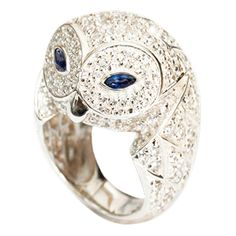 Diamond and Blue Sapphire Owl Ring by Marcello Riccio ($11,155) ❤ liked on Polyvore featuring jewelry, rings, marquise cut diamond ring, owl jewellery, blue ring, blue diamond jewelry and diamond rings