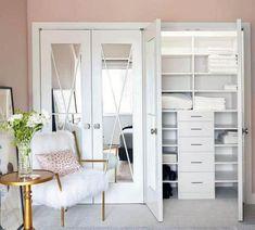 Double Closet Doors, Modern Closet Doors, Folding Closet Doors, French Closet Doors, Bedroom Closet Doors, Mirror Closet Doors, Bedroom Closet Design, Bathroom Interior Design, Master Closet