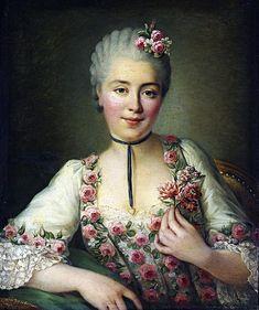 François-Hubert Drouais (1727-1775):  Portrait of a Lady said to be Mademoiselle Dore. 1765