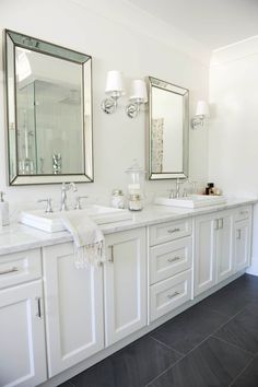 Bathroom Makeovers With White Cabinets before and after: grey and white traditional bathroom makeover