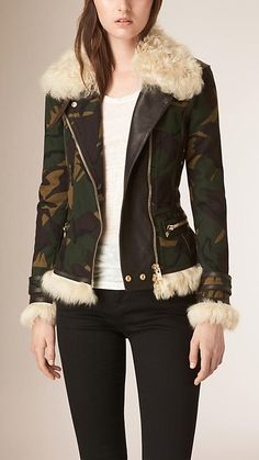 Burberry Khaki Green Shearling Trim Camouflage Print Cotton Jacket - A camouflage print waxed cotton aviator jacket with shearling and leather trims. The slim fit design features a classic asymmetric zip closure and pockets. Discover the women's outerwear collection at Burberry.com