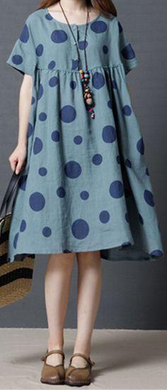 ff129f9770 US 25.56 Vintage Women Polka Dots Short Sleeve Pocket Dresses Casual Dresses