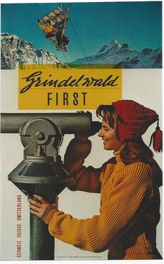 Original vintage poster GRINDELWALD FIRST SKI CHAIR LIFT #PhotoMontage