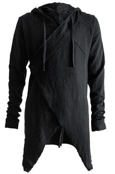 THOM / KROM | Raw asymmetric closure cardigan | Black