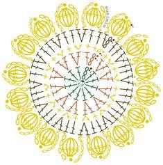 SusiMiu |   Patrón de Bajo Platos con forma de Girasol Crochet Mandala Pattern, Crochet Circles, Crochet Flower Patterns, Crochet Diagram, Crochet Chart, Crochet Squares, Crochet Granny, Crochet Flowers, Crochet Diy