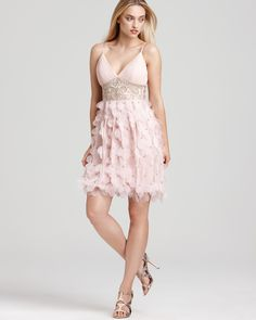 Sue Wong Short Beaded Dress with Petal Skirt   (Bloomingdale's)