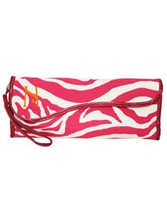 Hot Pink Zebra Insulated Flat Iron Case with Hot Pink Trim