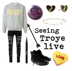 """""""Seeing Troye live"""" by xxevieloveliexx ❤ liked on Polyvore featuring Robert Rose, Marc by Marc Jacobs, Stila and Converse"""