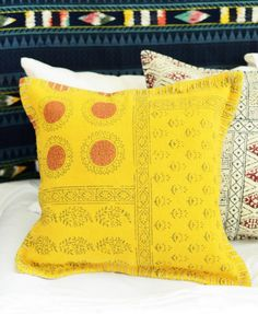 Mustard Yellow India Block Pillow.